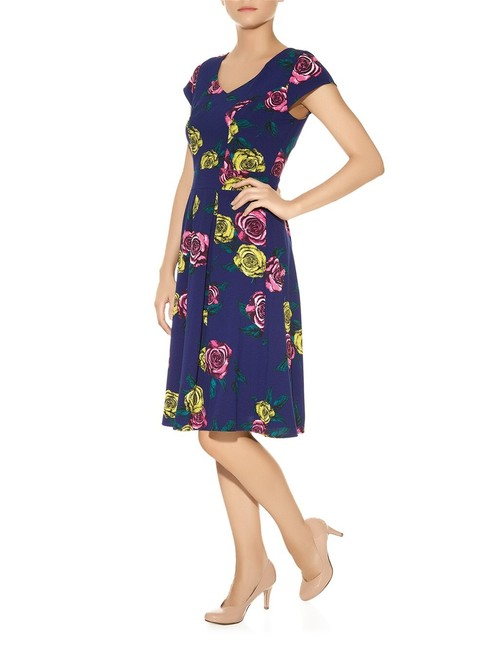 Item - Blue Pink Yellow Floral Tea Mid-length Cocktail Dress Size 6 (S)