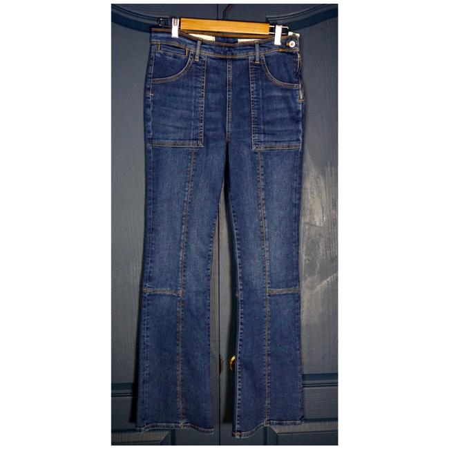 Item - Blue Medium Wash Pilcro High Waisted Front Seam Flare Capri/Cropped Jeans Size 29 (6, M)