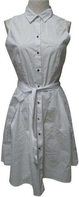 Item - White Button-down Poplin Sleeveless Pockets New Mid-length Short Casual Dress Size 6 (S)