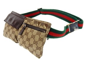 Gucci Web GG Monogram Canvas Leather Fanny Waist Travel Pack