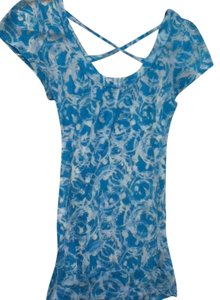 Rue 21 Flowy Pattern T Shirt blue and white