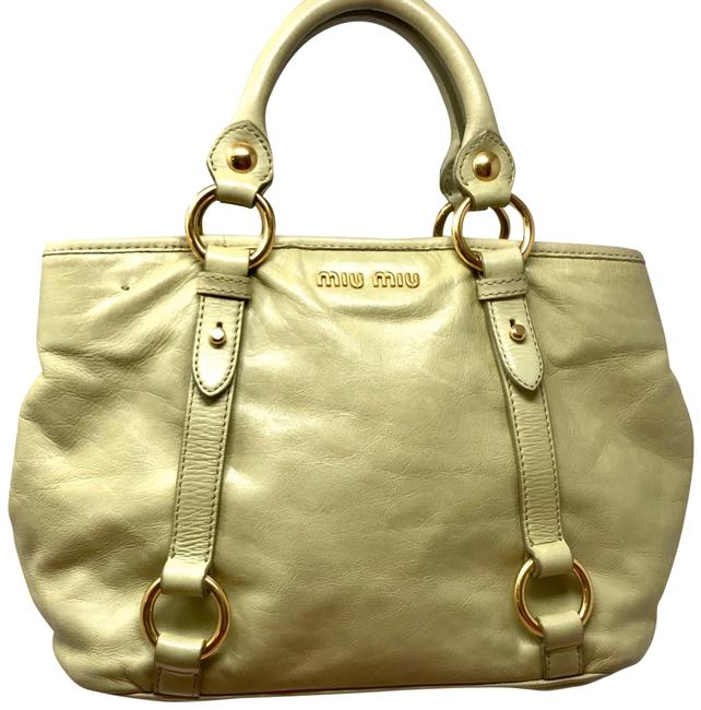 Item - Vitello Shine Pastel Green Leather Satchel