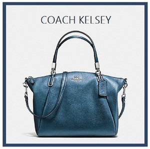Coach Pebbled Leather Crossbody Teal Blue Limited Edition Tote in Metallic Blue-Silver