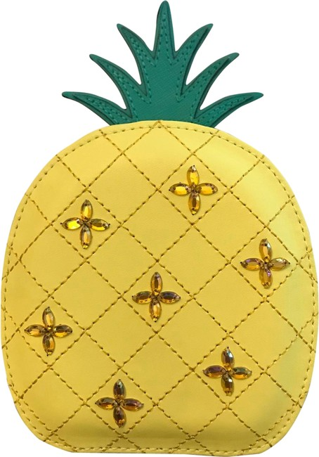 Item - How Refreshing Pineapple Coin Purse Yellow Leather Wristlet