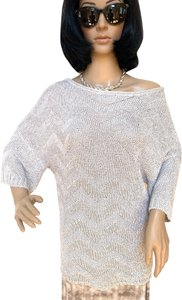 Magaschoni Crochet Crochet Tunic Knit 3/4 Sleeve Knit Sweater
