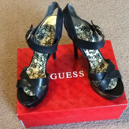 Guess Black Leather Platforms