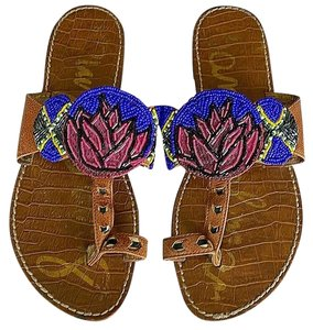 Sam Edelman Summer Flat Clip Toe Beach Comfortable Blue Tan Sandals