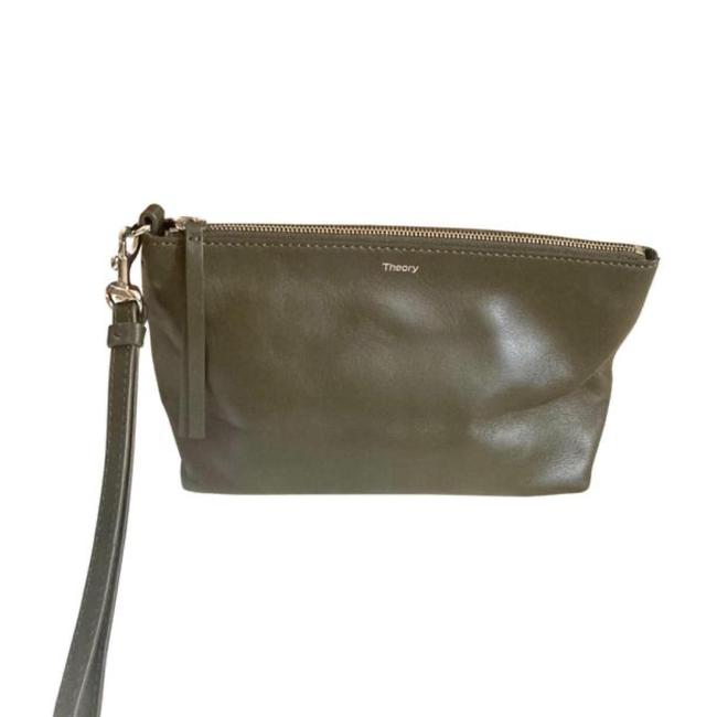 Item - Pouch Slate/Green Leather Wristlet