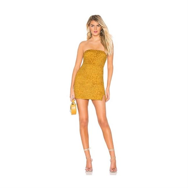 Item - Mustard Lace Chenille Tube Short Cocktail Dress Size 4 (S)