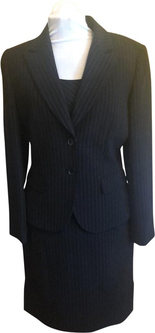 Item - Black with White Pinstripes For Arthur Levine Skirt Suit Size 8 (M)