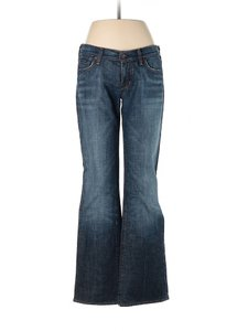 Citizens of Humanity Whiskering Mid Rise Fading Boot Cut Jeans-Dark Rinse