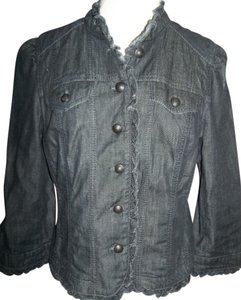 Ann Taylor LOFT Size 10 Dark Wash Pockets Metal Buttons Denim Blue Blazer