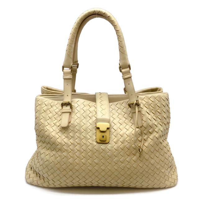 Item - Woven Cream Leather Satchel