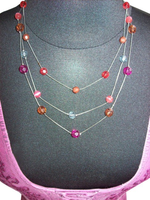 Item - Multi-color Colorful Jewel Beaded Layered Triple Tiered Necklace