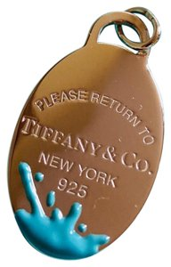 Tiffany & Co. Tiffany & Co Silver Return To Tiffany Blue Enamel Splash Oval Charm