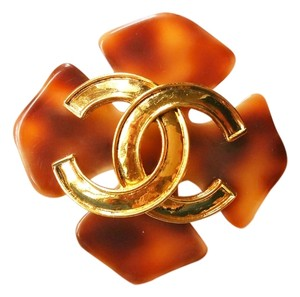 Chanel Authentic Chanel Faux Tortoise Shell CC Large Brooch