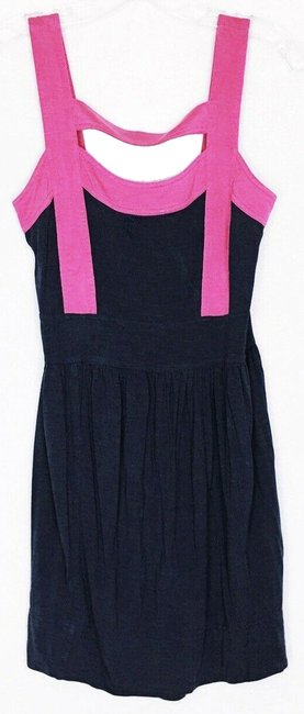 Item - Blue Jersey Silk Caged Front Pink and Navy Short Casual Dress Size 4 (S)