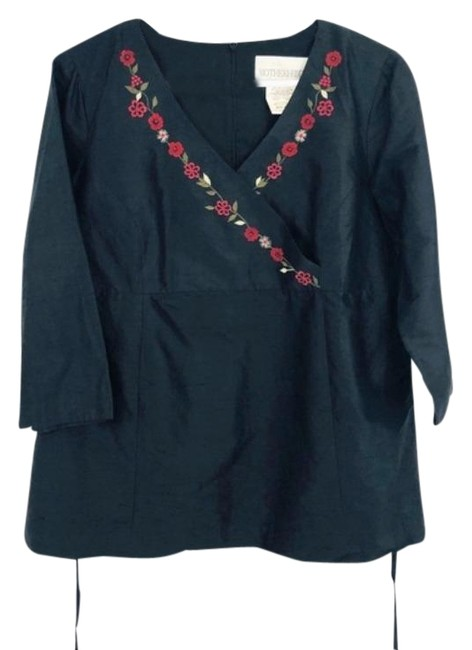 Item - Black Silk Embroidered Maternity Blouse Size 10 (M)