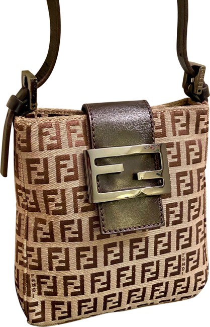 Item - Shoulder Bag Zucchino Ff Monogram Evening Mini Brown Canvas and Leather Baguette