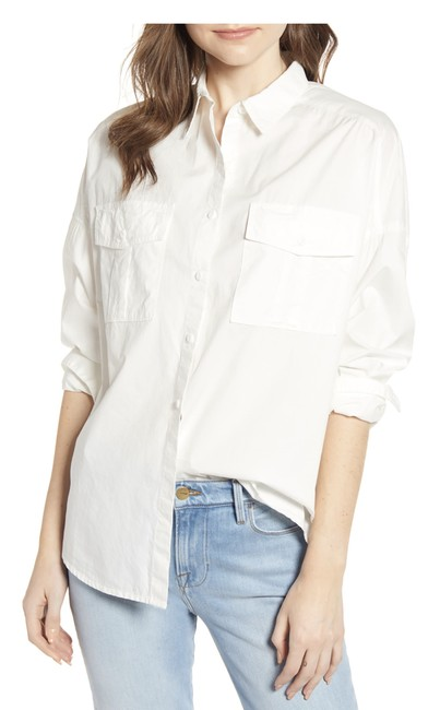 Item - White Oversized Shirt Button-down Top Size 4 (S)