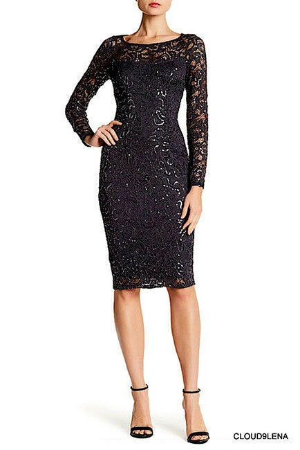 Item - Sequin Lace Long Sleeve Sheath Mid-length Cocktail Dress Size 6 (S)