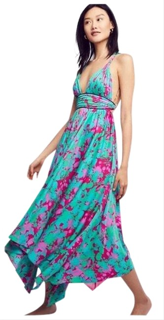 Item - Teal and Fuchsia Summer Night Long Casual Maxi Dress Size 2 (XS)