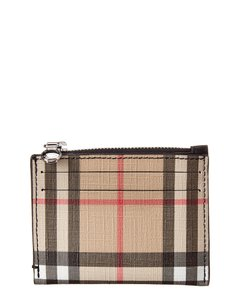 Burberry Burberry Vintage Check & Leather Zip Card Case