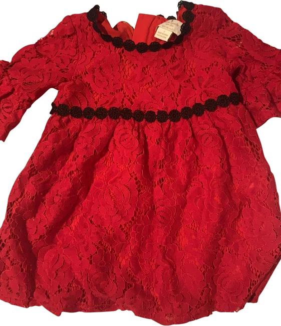 Item - Red & Black Favorite My Babies Mid-length Short Casual Dress Size 00 (XXS)