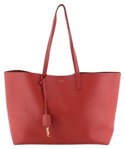 Saint Laurent Shopper Leather Tote in Red