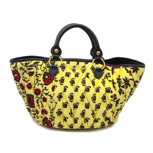 Item - Ruched Yellow Multi Twill/Leather Satchel