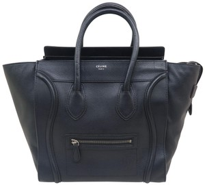 Céline Luggage Mini Calfskin Tote in Black