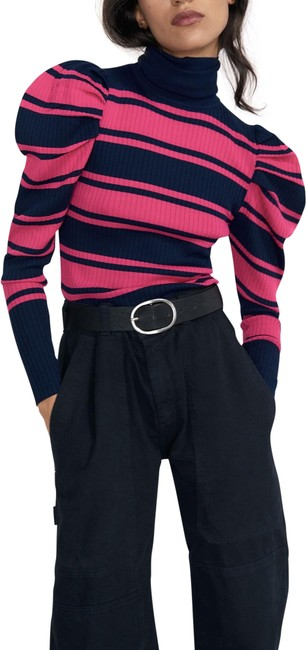 Item - Striped Puff Sleeve Turter Neck Pink/Navy Blue Size M Nwt. Pink Sweater