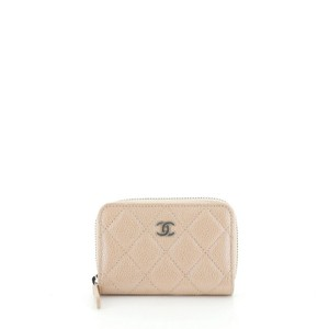 Chanel Coin Purse Leather Neutral Clutch