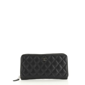 Chanel Wallet Leather Black Clutch