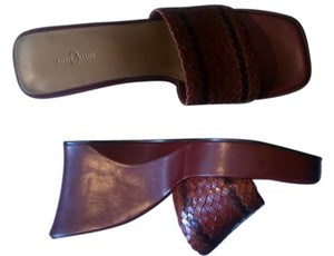 Anne Klein Wedge Leather Red Vintage 90's - Burgundy Mules