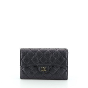 Chanel Wallet Leather Green, Purple Clutch