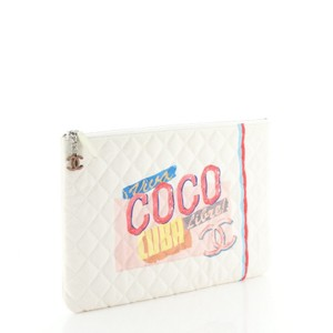 Chanel Coco Cuba Canvas Print, White Clutch