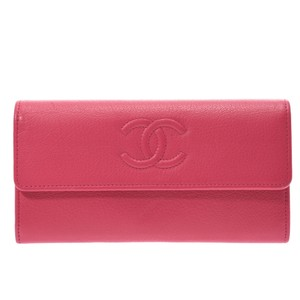 Chanel CHANEL Pink Women's Calf Wallet
