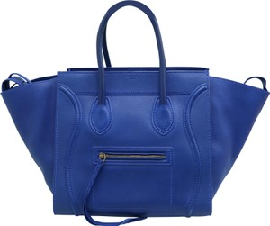 Céline Luggage Medium Calfskin Tote in Blue