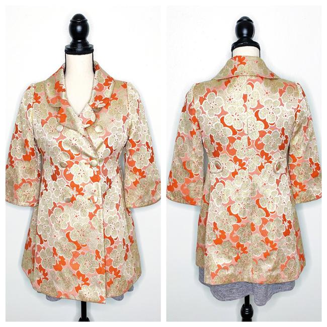 Item - Coral Orange Gold Floral Jacquard Metallic Brocade Coat Size 2 (XS)