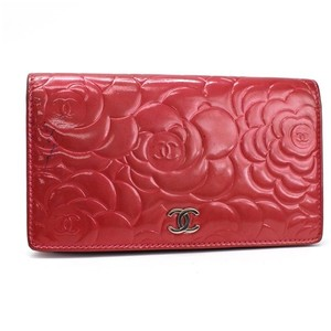 Chanel Chanel Camellia Long Fold Wallet Pink A36544 Cocomark Patent Leather Silver Hardware CHANEL