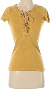 Chaser Mustard Edgy Low Cut Strappy Top Yellow