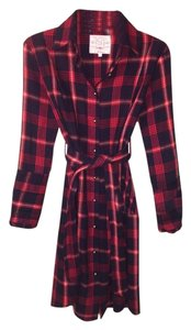 BELL short dress Red Edgy Button-down Buttonup Pliad Punk on Tradesy