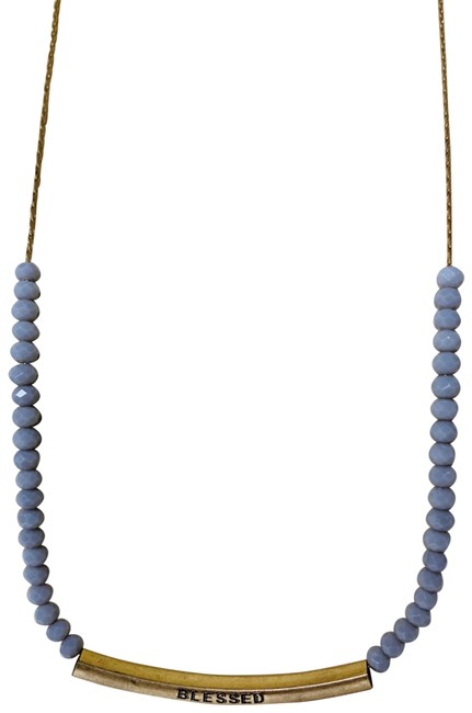Item - Gold Blessed Bar & Gray Glass Bead Necklace