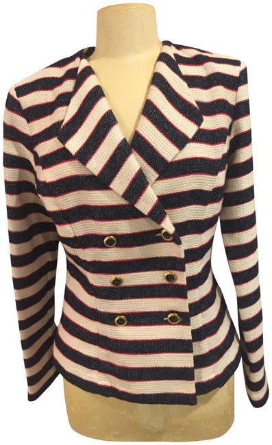Item - Cream Navy and Red Nautical Jacket Size 6 (S)
