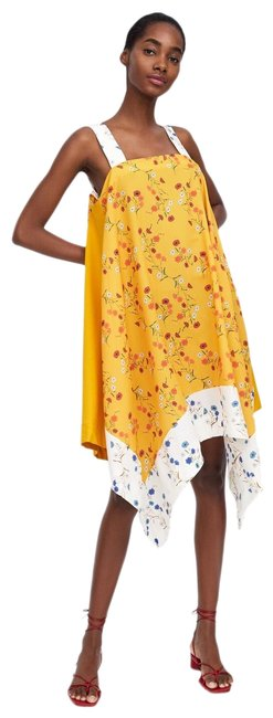 Item - Yellow New Asymmetric Floral Boho Ref 0858/176 Mid-length Short Casual Dress Size 6 (S)