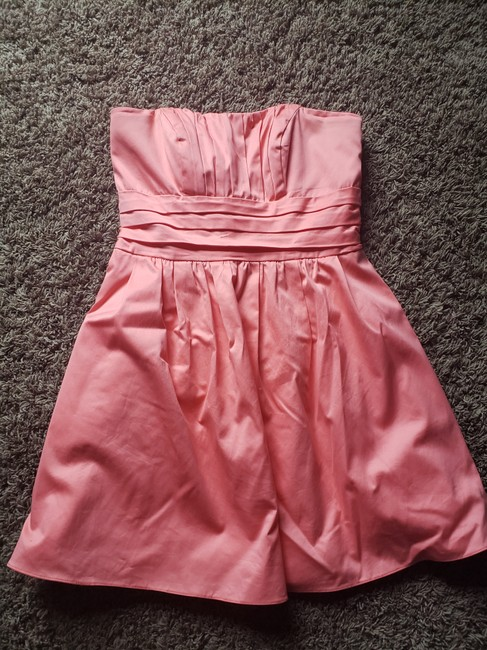 David's Bridal Coral Cotton & Polyester Sateen Short Strapless Ruched (Style #83312) Casual Bridesmaid/Mob Dress Size 10 (M) David's Bridal Coral Cotton & Polyester Sateen Short Strapless Ruched (Style #83312) Casual Bridesmaid/Mob Dress Size 10 (M) Image 1