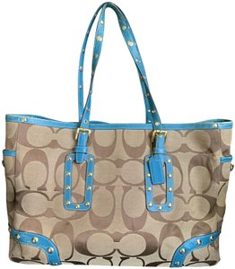 Coach 1941 Tote in Turquoise/ brown