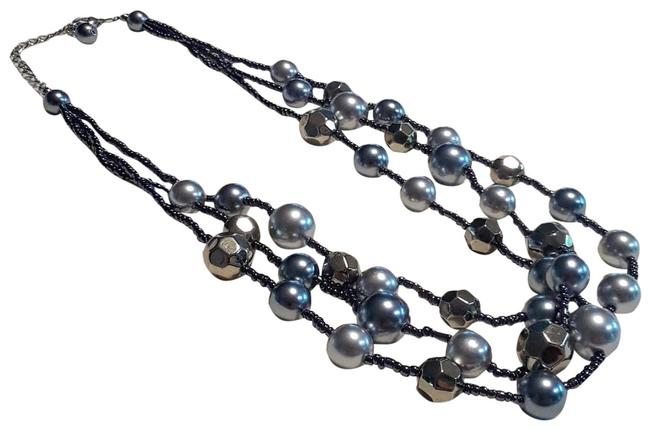 Item - Blue Gray Gold 3 Strand Pearl Sparkle Necklace
