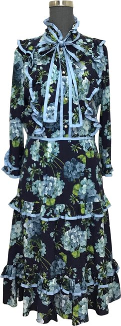 Item - Navy Blue Green White Floral Printed Silk Tiered Mid-length Short Casual Dress Size 6 (S)